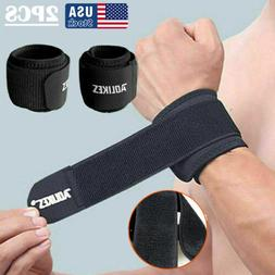 2x wrist band support bandage brace compression