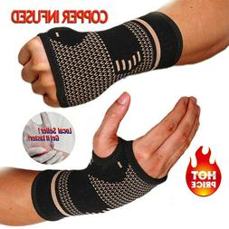 Copper Wrist Hand Brace Carpal Tunnel Support Splint Fit Art