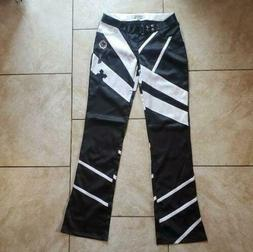 Indigo Red lux industrial denim black white color block pant