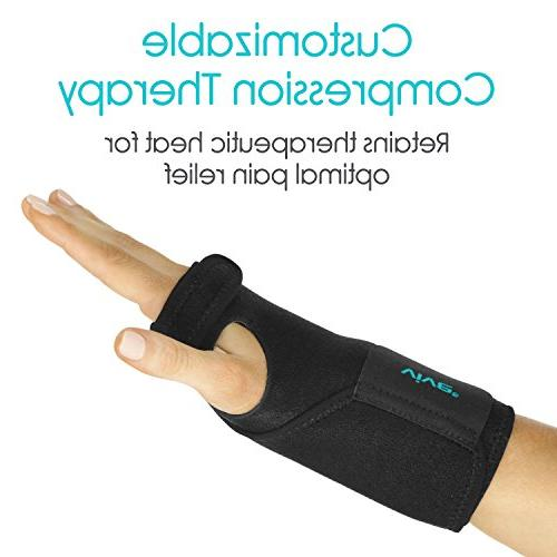 Vive Wrist Brace Carpal Tunnel Support Wrap Women, Injuries Pain Removable Splint Ergonomic Fit, One Left