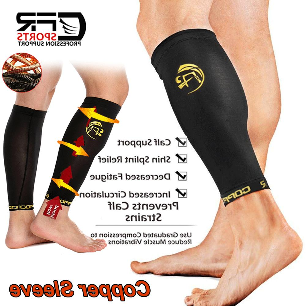 copper compression calf sleeve running leg support