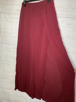 NEW Split Front Wide Leg High Slit Palazzo Tulip Burgundy Pu
